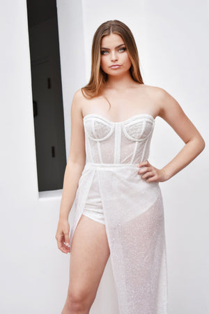 white sheer bustier avery gown