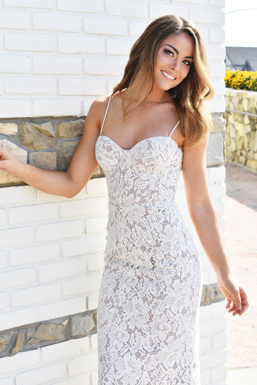 Charlotte ivory lace bustier dress