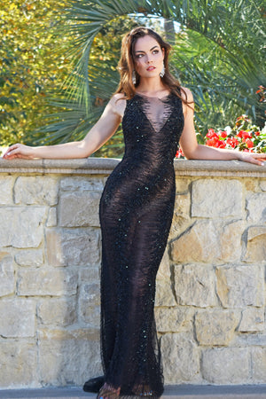 Dlynn gown black sheer beaded dress