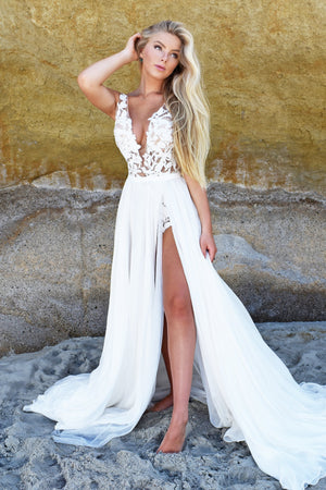 Ivory lace body suit for beach