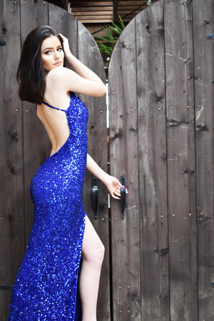 royal blue sequin prom dress with low back
