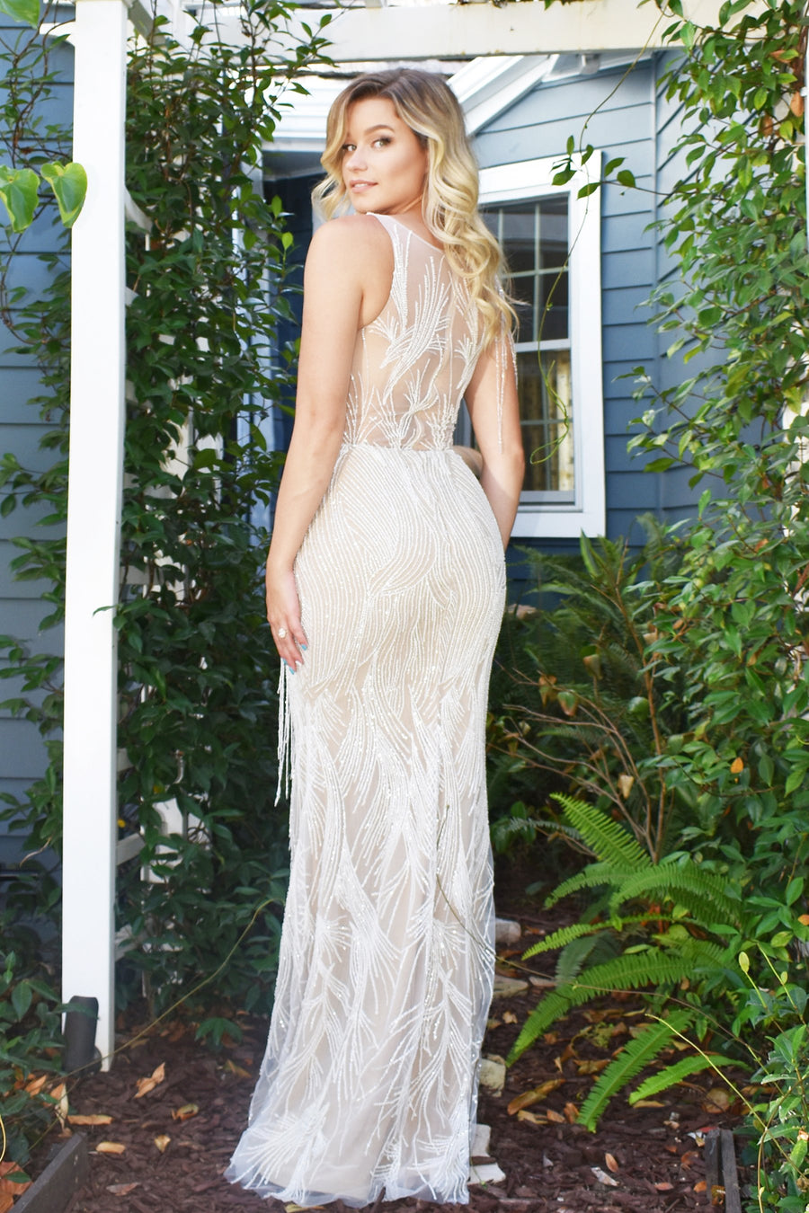 rene atelier beaded fringe bridal gown