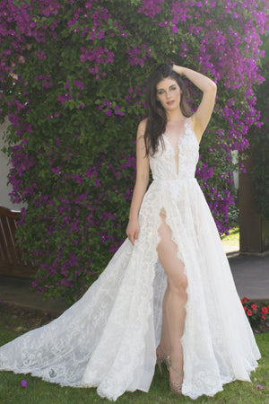 white sexy deep v bridal gown with slit