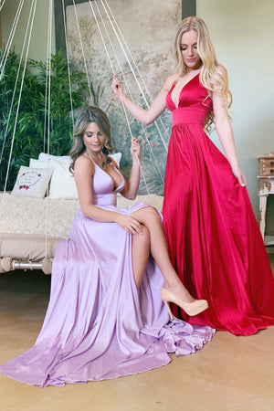 purple and red silk prom dress