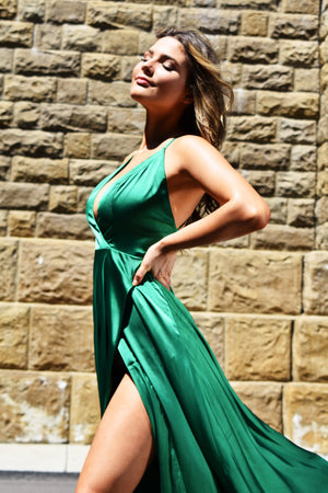 emerald green satin prom dress