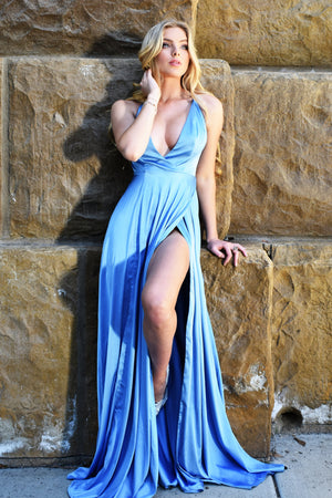 molly gown light blue satin prom dress