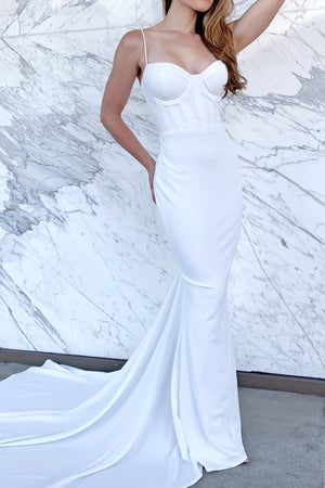 crepe satin bustier bridal gown