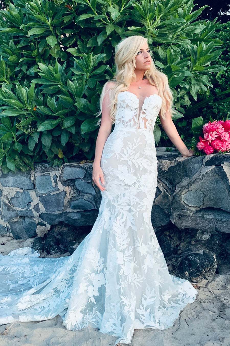 Sheer low back beach bridal gown with long train