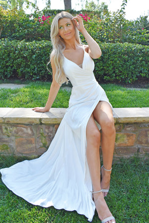 rene the label sage gown in white