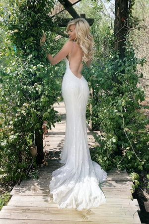 low back fitted lace bridal gown