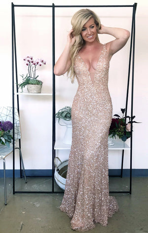 Genoa Gown champagne sequin dress