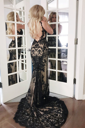 rene atelier low back black lace dress