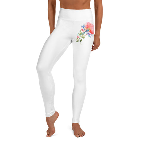 Dragonfly and Flower Yoga Leggings