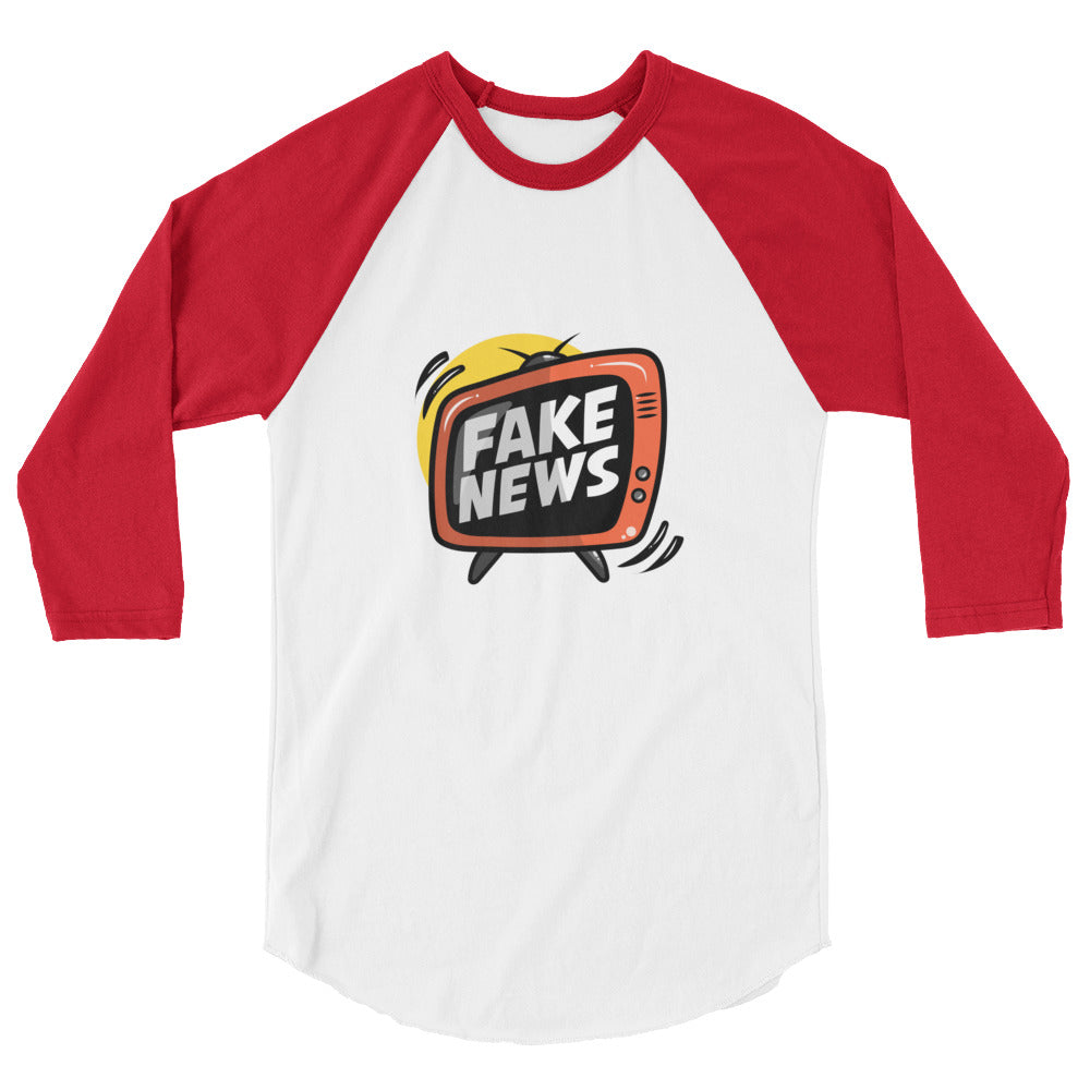"""FAKE NEWS"" Unisex Raglan Tee!"