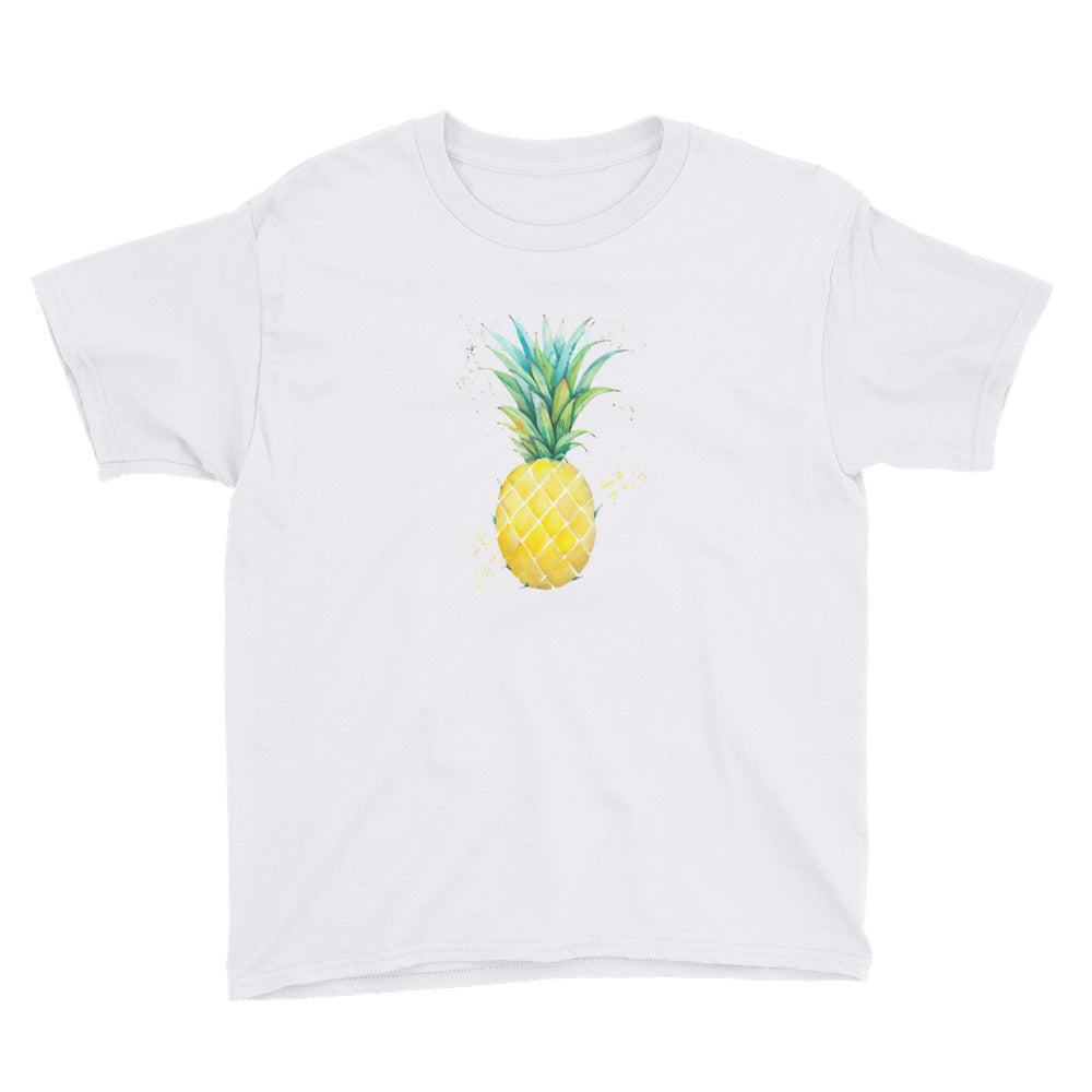 Watercolor Pineapple Youth Short Sleeve T-Shirt
