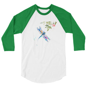 Watercolor Dragonfly III 3/4 Sleeve Raglan Shirt