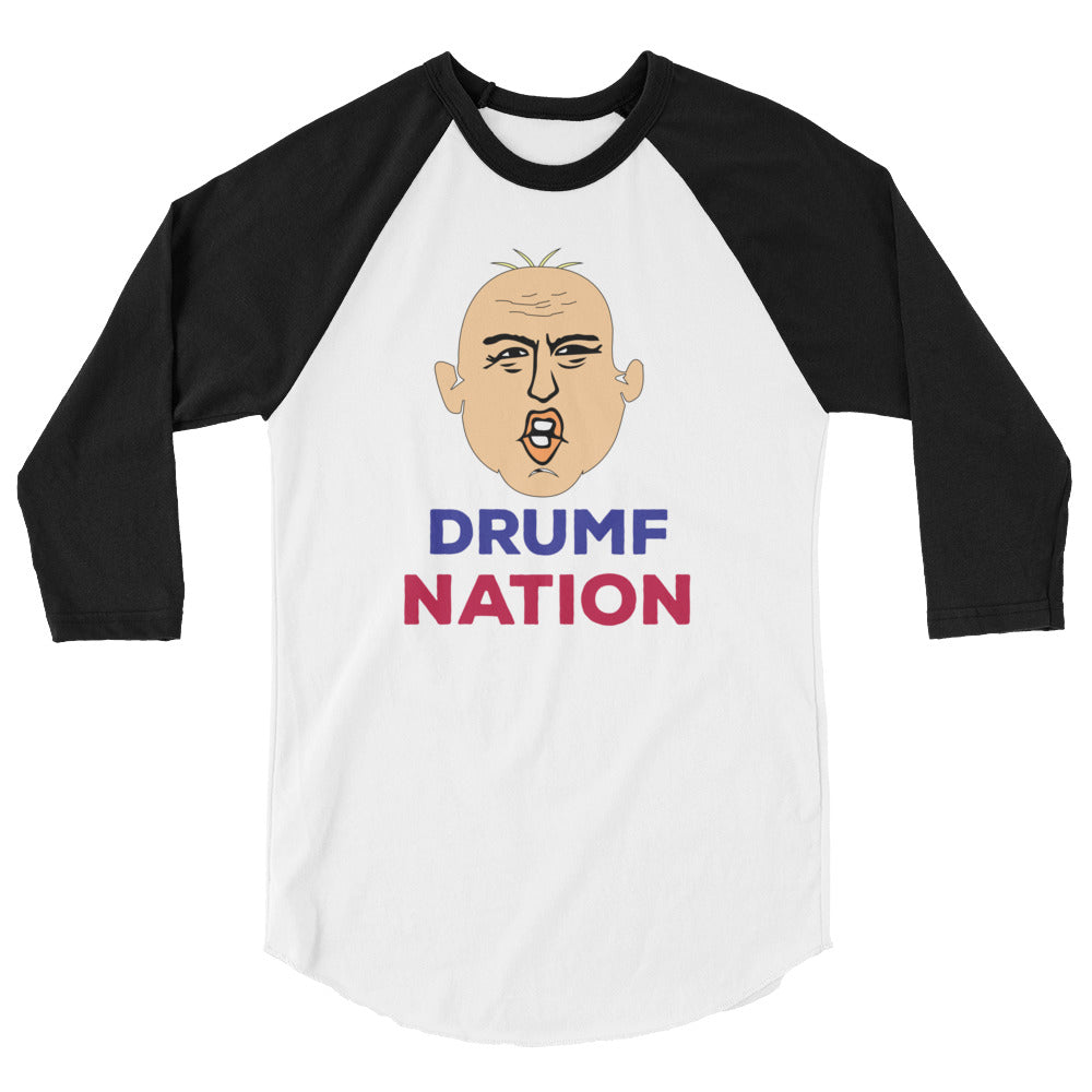 """Drumpf Nation"" Political Parody 3/4 Sleeve Raglan Shirt"