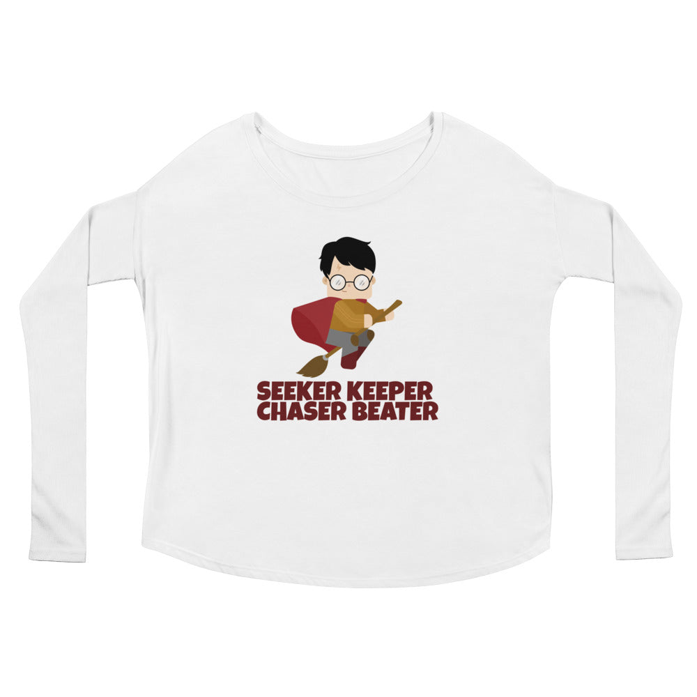 """Seeker Keeper Chaser Beater"" Harry Potter Ladies' Long Sleeve Tee"