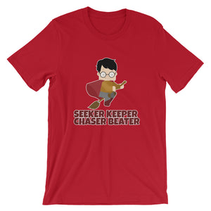 """Seeker Keeper Chaser Beater"" Harry Potter Short-Sleeve Unisex T-Shirt"