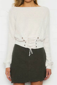 WINTER KNITTED LACE UP SWEATER