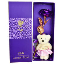 24k Gold Rose Flower with Teddy Bear
