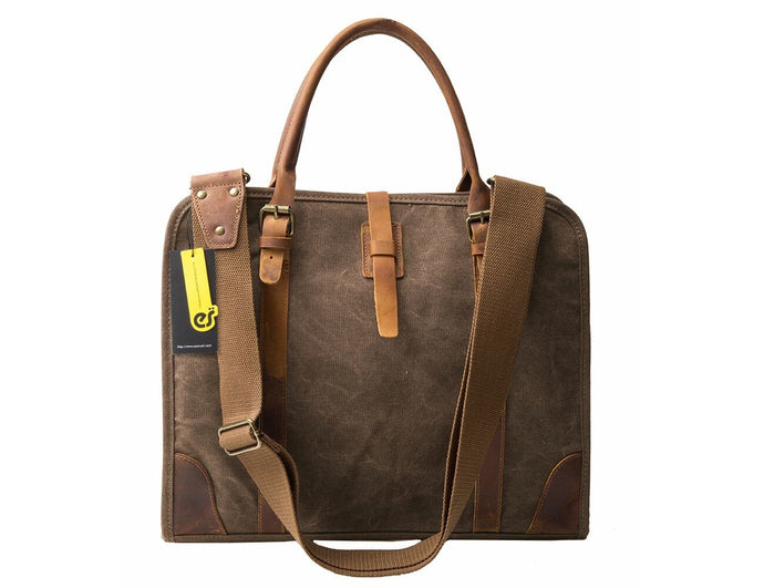 High Density Canvas Real Leather Business Messenger Briefcase Laptop Bag Fit 15.6