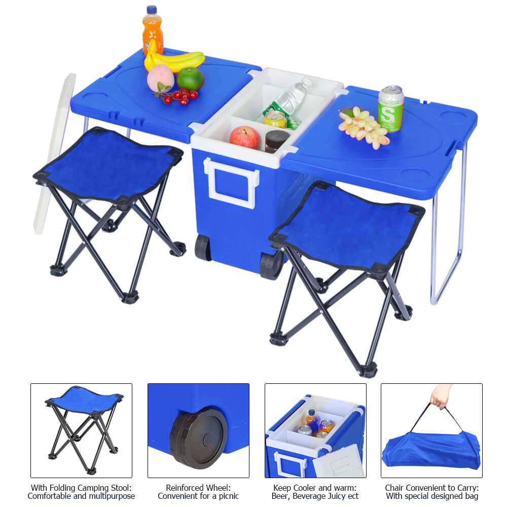 Cooler With Wheels | Camping Cooler - Blue