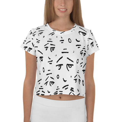 """Eyes On You"" All-Over Print Crop Tee"