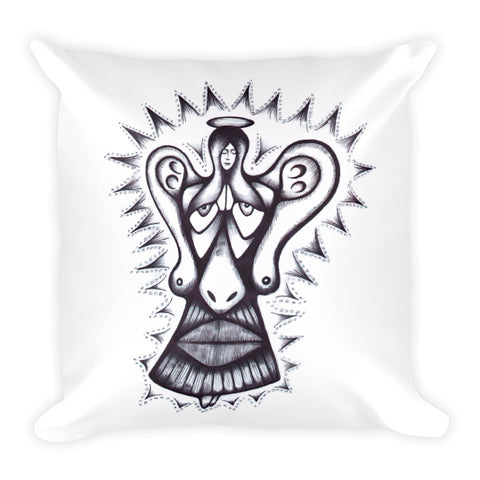 """Ear Angel"" Square Pillow"