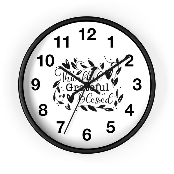 Wall clock- Thankful grateful blessed - Little Treasures LLC