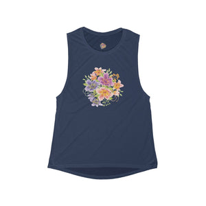 Women's Flowy Scoop Muscle Tank- Floral - Little Treasures LLC