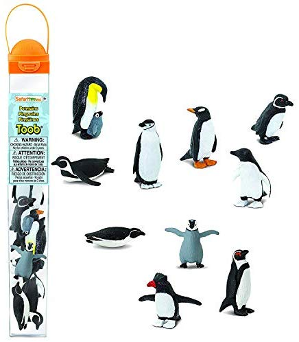 Safari Ltd Penguin TOOB With 10 Fun and Flightless Figurines, Including Gentoo, Humboldt, Chinstrap, Rockhopper, Galapagos, Adelie, Swimming, Sliding, Baby, And Penguin With Baby  Ages 3 And