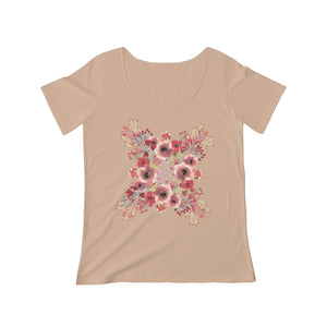 Women's Scoop Neck T-shirt- Floral - Little Treasures LLC