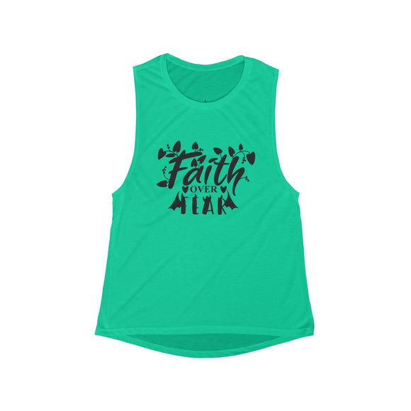 Women's Flowy Scoop Muscle Tank- Faith over fear - Little Treasures LLC