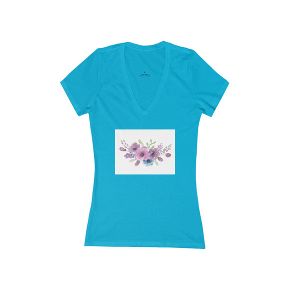 Women's Jersey Short Sleeve Deep V-Neck Tee- Floral - Little Treasures LLC