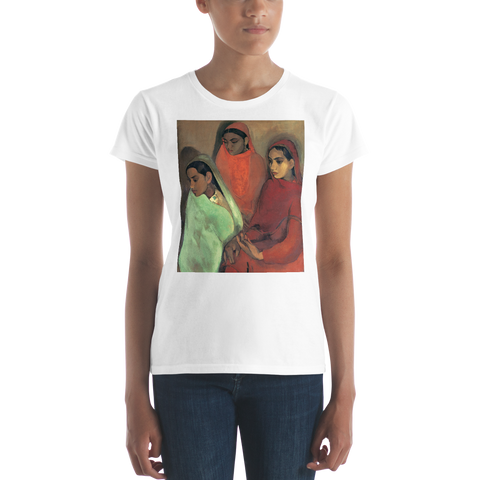 Three-Girls-Cotton-Art-Tee-For-Women
