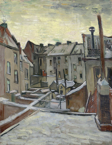 Backyards of Old Houses in Antwerp in the Snow, 1885