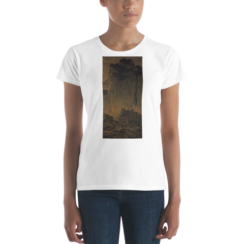 Travelers Among Mountains And Streams Cotton Art Tee For Women