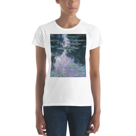 Water-Lilies-Cotton-Art-Tee-For-Women