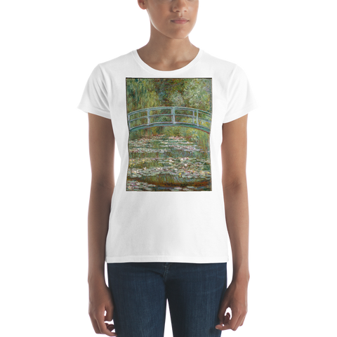 The-Water-Lily-Pond-Cotton-Art-Tee-For-Women