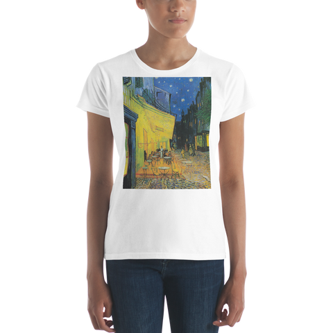 Cafe-Terrace-At-Night-Cotton-Art-Tee-For-Women