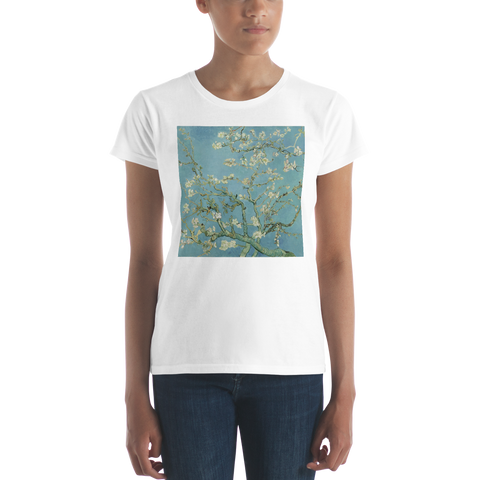 Almond-Blossoms-Cotton-Art-Tee-For-Women