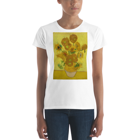 Sunflowers-Cotton-Art-Tee-For-Women