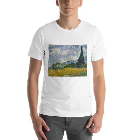 Wheat-Field-With-Cypresses-Cotton-Art-Tee-For-Men