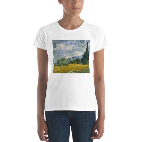 Wheat-Field-With-Cypresses-Cotton-Art-Tee-For-Women