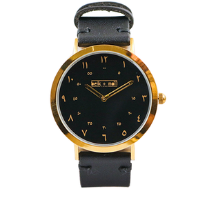 Beik & Moll Gold Case Black Dial + Black Leather Strap + Free Gold or Black Mesh Strap