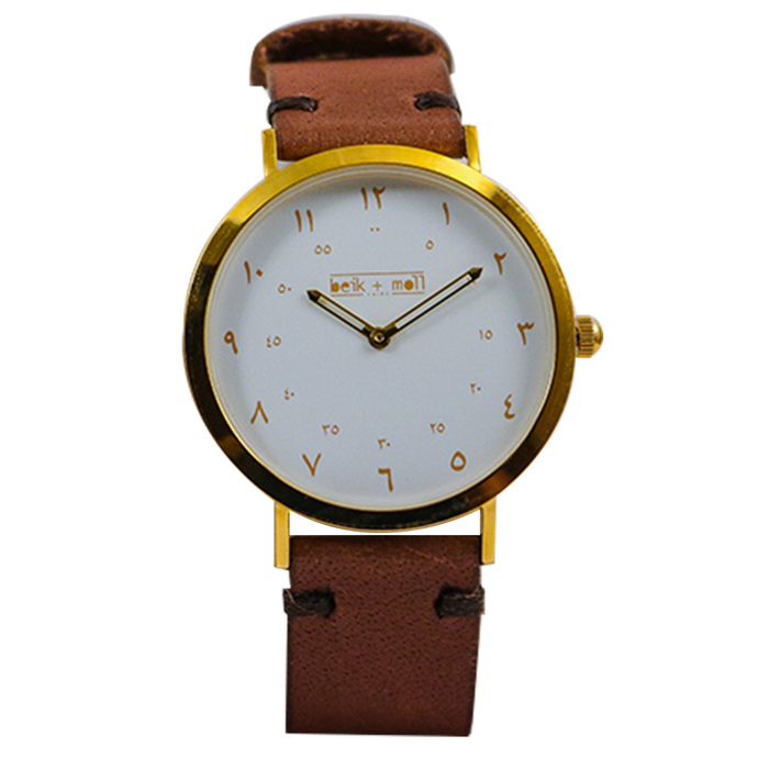 Beik & Moll Gold Case White Dial + Brown Leather Strap + Free Gold Mesh Strap