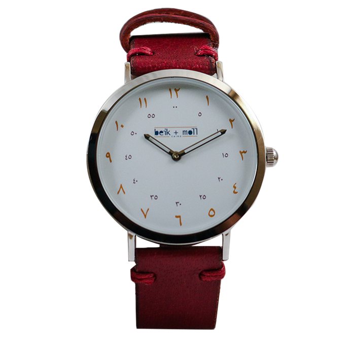 Beik & Moll Silver Case White Dial + Maroon Leather Strap + Free Silver Mesh Strap