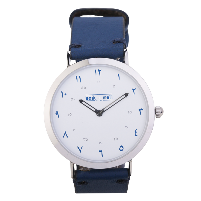 Beik & Moll Silver Case  + Navy Blue Leather Strap + Silver Mesh Strap