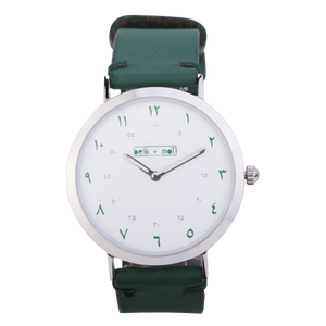 Beik & Moll Silver Case + Green Leather Strap + Silver Mesh Strap